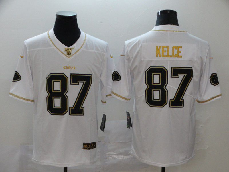 Men Kansas City Chiefs 87 Kelce White Retro gold character Nike NFL Jerseys