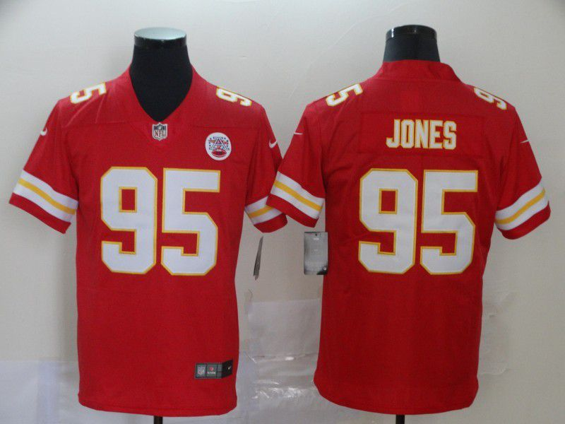 Men Kansas City Chiefs 95 Jones Red Nike Vapor Untouchable Limited NFL Jersey