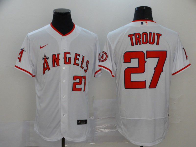 Men Los Angeles Angels 27 Trout White Elite Nike Elite MLB Jerseys