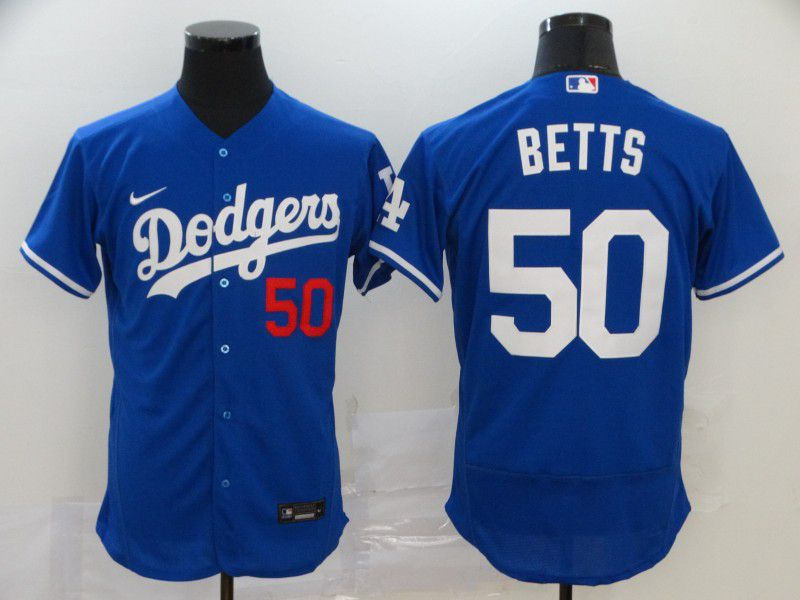 Men Los Angeles Dodgers 50 Betts Blue Elite Nike Elite MLB Jerseys