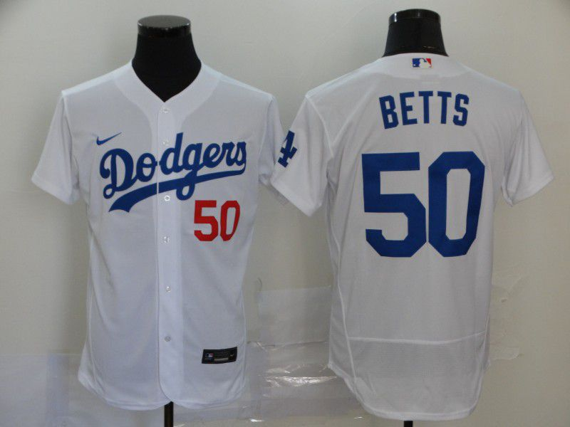 Men Los Angeles Dodgers 50 Betts White Elite Nike Elite MLB Jerseys
