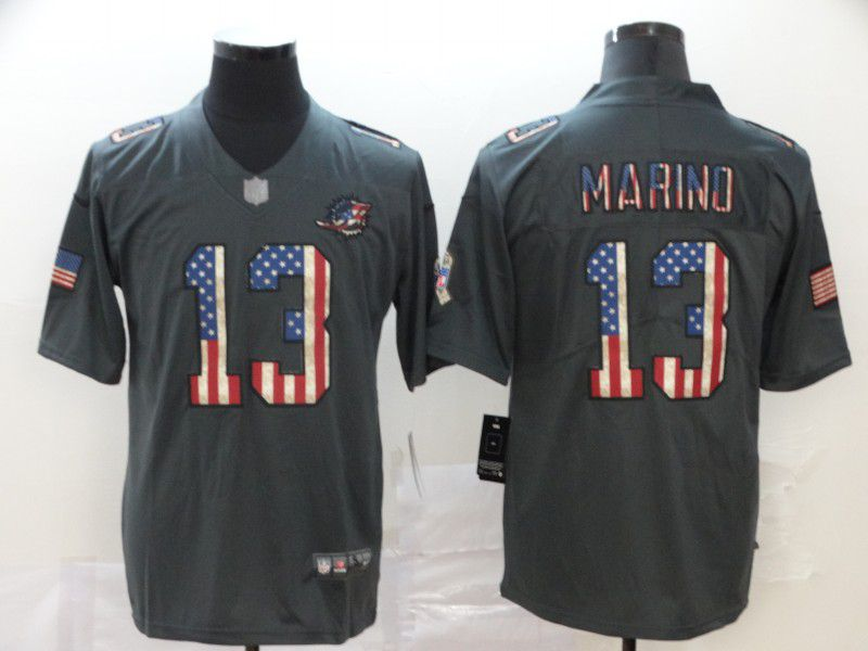 Men Miami Dolphins 13 Marino Carbon Black Retro USA flag Nike NFL Jerseys