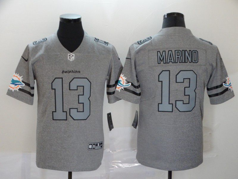 Men Miami Dolphins 13 Marino Grey Retro Nike NFL Jerseys