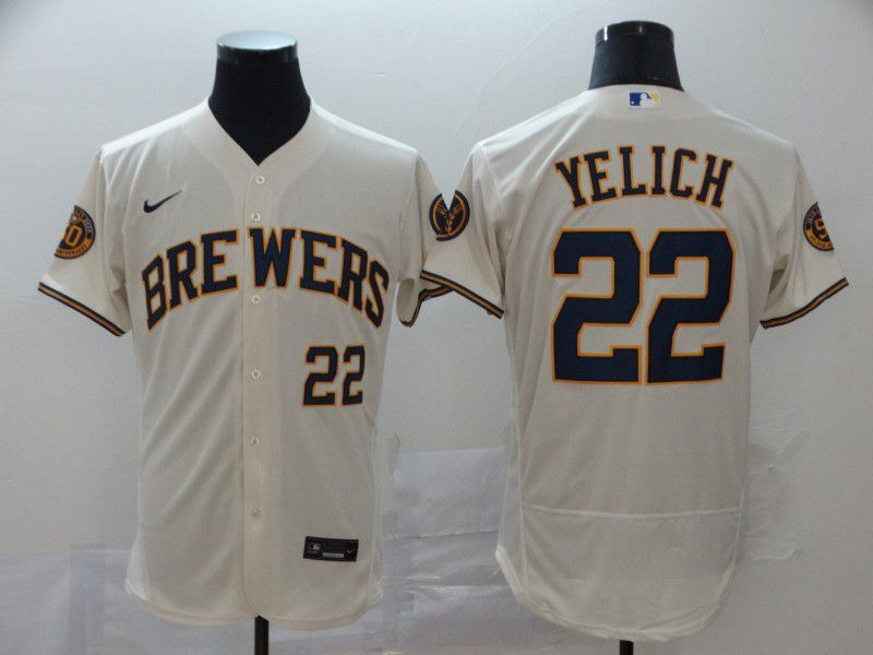 Men Milwaukee Brewers 22 Yeli Cream Nike Elite MLB Jerseys