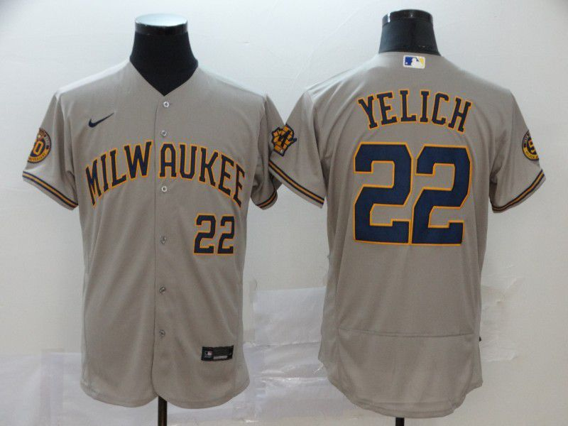 Men Milwaukee Brewers 22 Yeli Grey Nike Elite MLB Jerseys