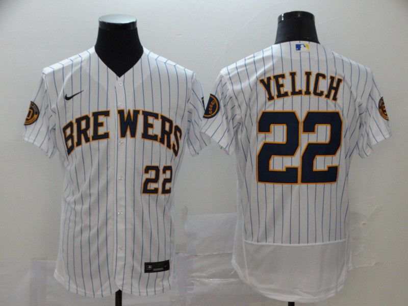 Men Milwaukee Brewers 22 Yeli White stripes Nike Elite MLB Jerseys