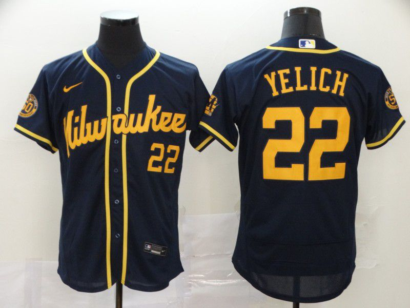 Men Milwaukee Brewers 22 Yelich Blue Nike Elite MLB Jerseys