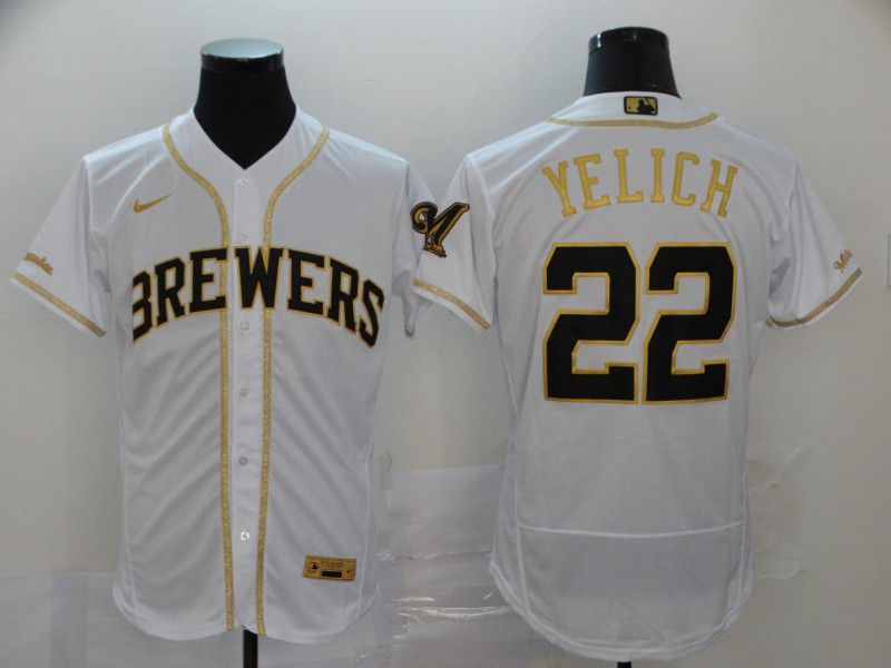 Men Milwaukee Brewers 22 Yelich White Retro gold character Nike Elite MLB Jerseys