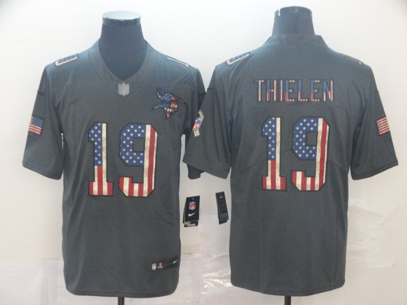 Men Minnesota Vikings 19 Thielen Carbon Black Retro USA flag Nike NFL Jerseys