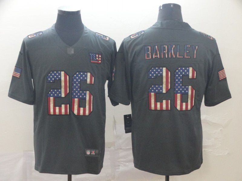 Men New York Giants 26 Barkley Carbon Black Retro USA flag Nike NFL Jerseys