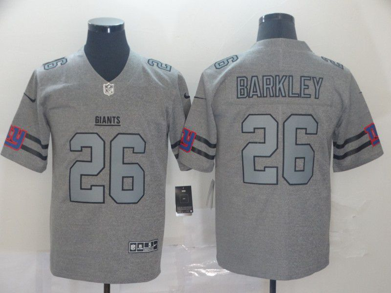 Men New York Giants 26 Barkley Grey Retro Nike NFL Jerseys