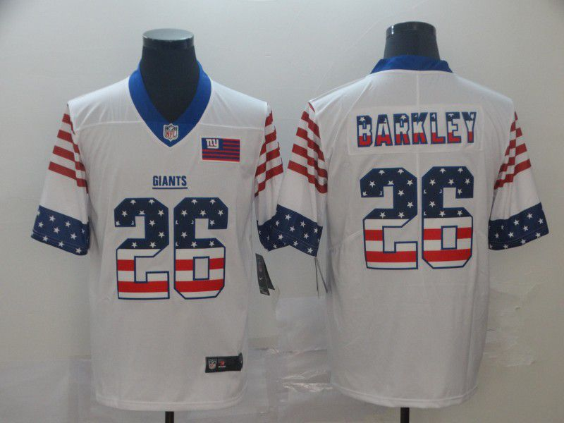 Men New York Giants26 Barkley White Retro USA Flag Nike NFL Jerseys