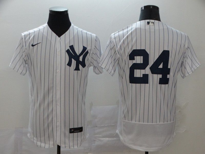 Men New York Yankees 24 No name White stripes Nike Elite MLB Jerseys