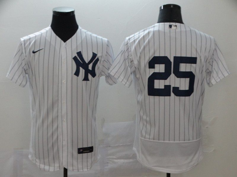 Men New York Yankees 25 De Caracas White stripes Nike Elite MLB Jerseys