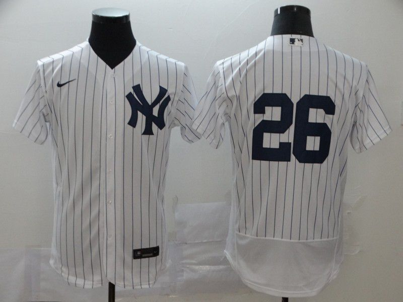 Men New York Yankees 26 Lemahieu White stripes Nike Elite MLB Jerseys