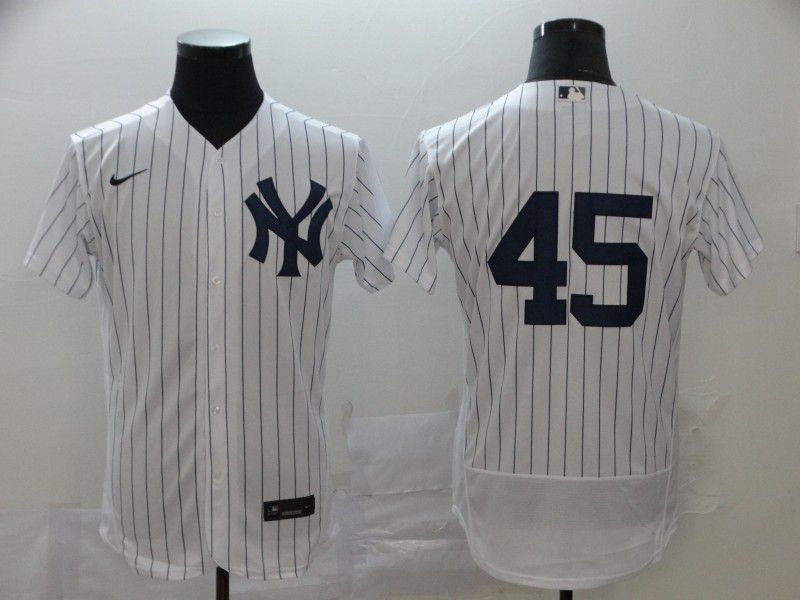 Men New York Yankees 45 No name White stripes Nike Elite MLB Jerseys
