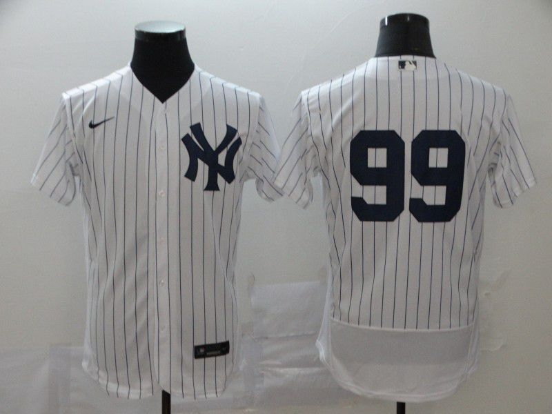 Men New York Yankees 99 Judge White stripes Nike Elite MLB Jerseys