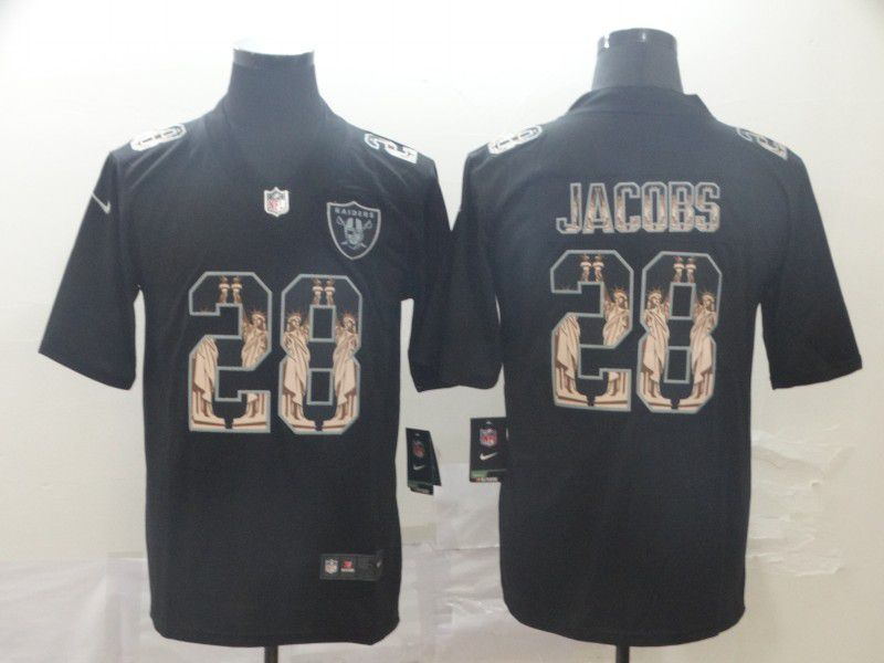 Men Oakland Raiders 28 Jacobs Black Goddess fashion Edition Nike NFL Jerseys