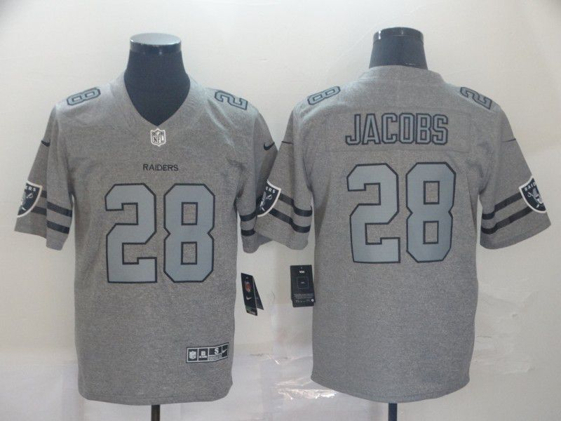 Men Oakland Raiders 28 Jacobs Grey Retro Nike NFL Jerseys