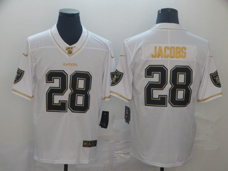 Men Oakland Raiders 28 Jacobs White Retro gold character Nike NFL Jerseys