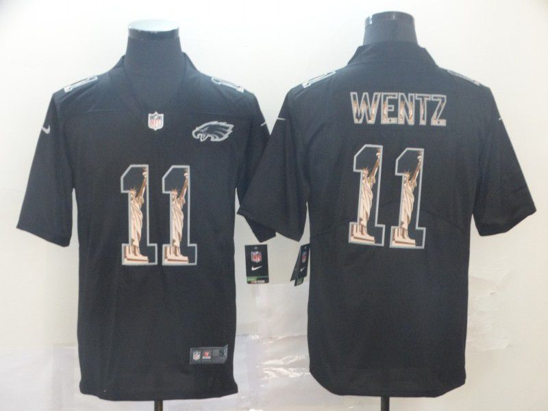 Men Philadelphia Eagles 11 Wentz Black Goddess fashion Edition Nike NFL Jerseys