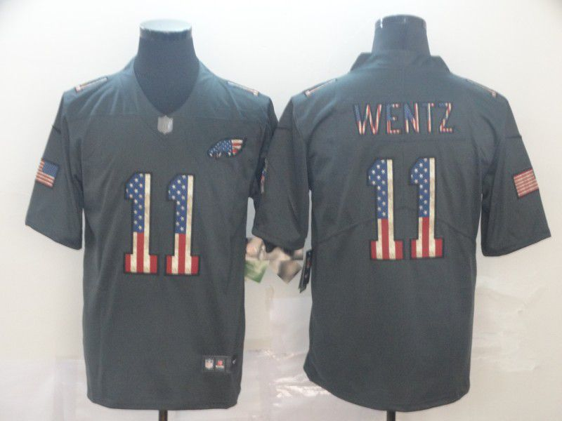 Men Philadelphia Eagles 11 Wentz Carbon Black Retro USA flag Nike NFL Jerseys