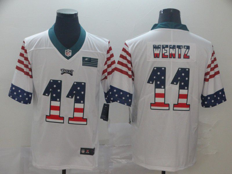 Men Philadelphia Eagles 11 Wentz White Retro USA Flag Nike NFL Jerseys
