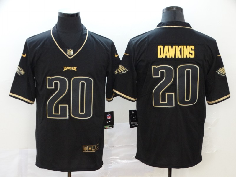 Men Philadelphia Eagles 20 Dawkins Black Retro gold character Nike NFL Jerseys
