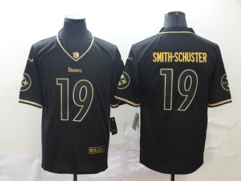 Men Pittsburgh Steelers 19 Smith-schuster Black Retro gold character Nike NFL Jerseys