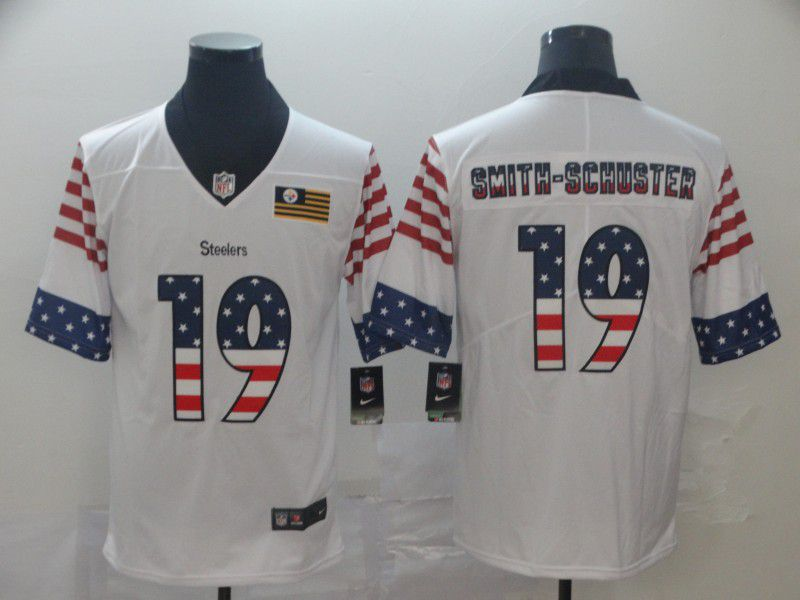 Men Pittsburgh Steelers 19 Smith-schuster White Retro USA Flag Nike NFL Jerseys