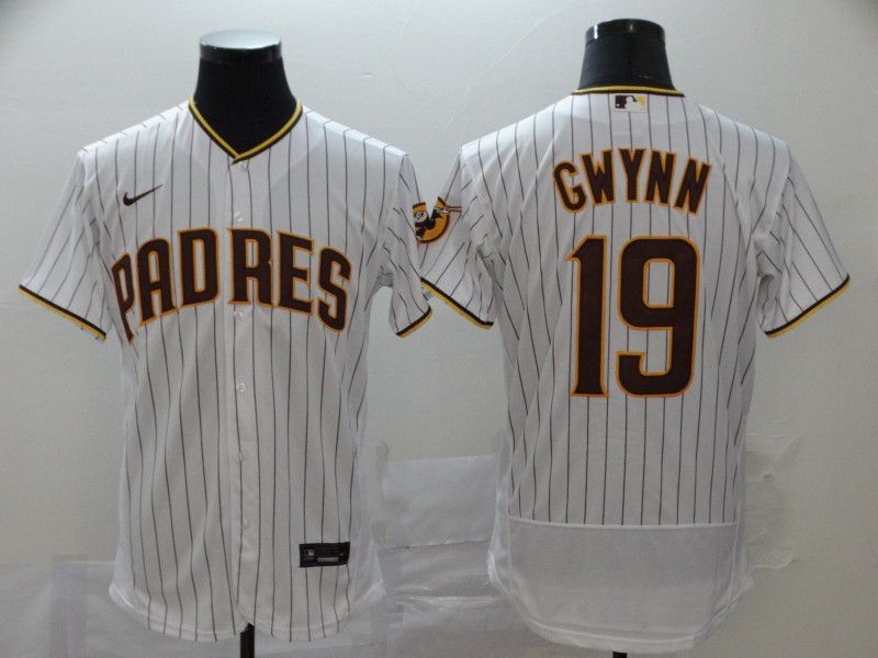 Men San Diego Padres 19 Gwynn White stripes Nike Elite MLB Jerseys