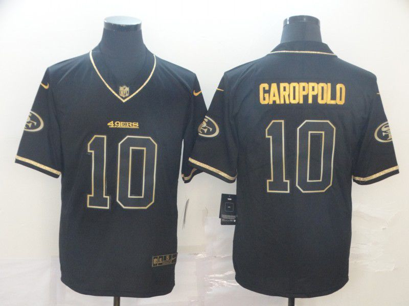 Men San Francisco 49ers 10 Garoppolo Black Retro gold character Nike NFL Jerseys