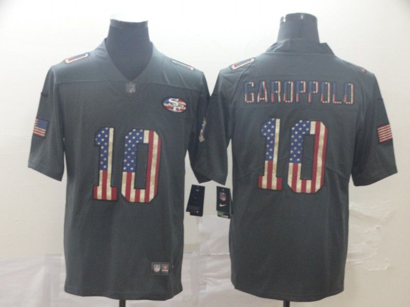 Men San Francisco 49ers 10 Garoppolo Carbon Black Retro USA flag Nike NFL Jerseys