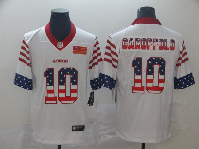 Men San Francisco 49ers 10 Garoppolo White Retro USA Flag Nike NFL Jerseys