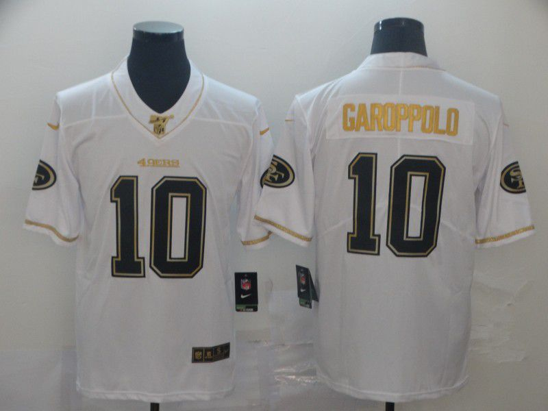 Men San Francisco 49ers 10 Garoppolo White Retro gold character Nike NFL Jerseys