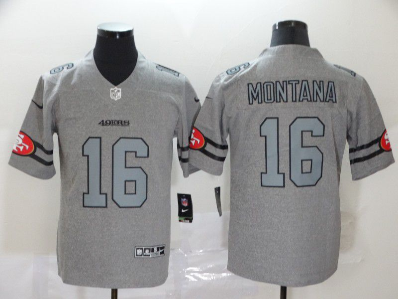 Men San Francisco 49ers 16 Montana Grey Retro Nike NFL Jerseys