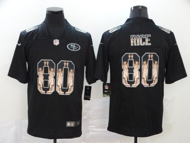 Men San Francisco 49ers 80 Rice Black Goddess fashion Edition Nike NFL Jerseys