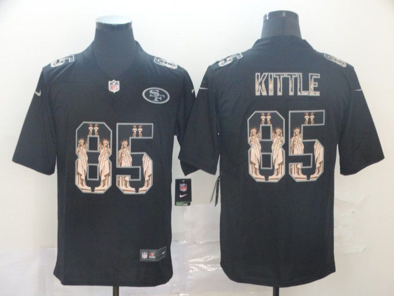 Men San Francisco 49ers 85 Kittle Black Goddess fashion Edition Nike NFL Jerseys