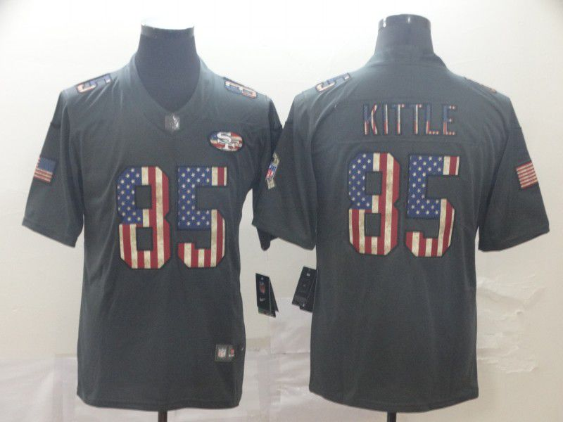 Men San Francisco 49ers 85 Kittle Carbon Black Retro USA flag Nike NFL Jerseys