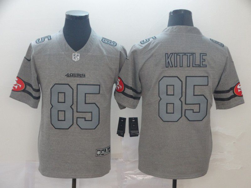 Men San Francisco 49ers 85 Kittle Grey Retro Nike NFL Jerseys