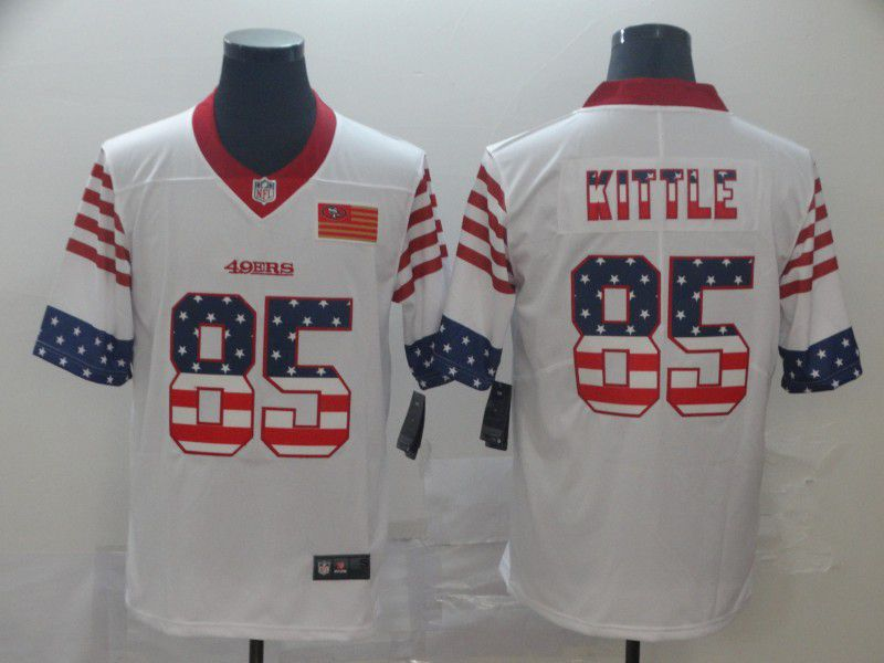 Men San Francisco 49ers 85 Kittle White Retro USA Flag Nike NFL Jerseys