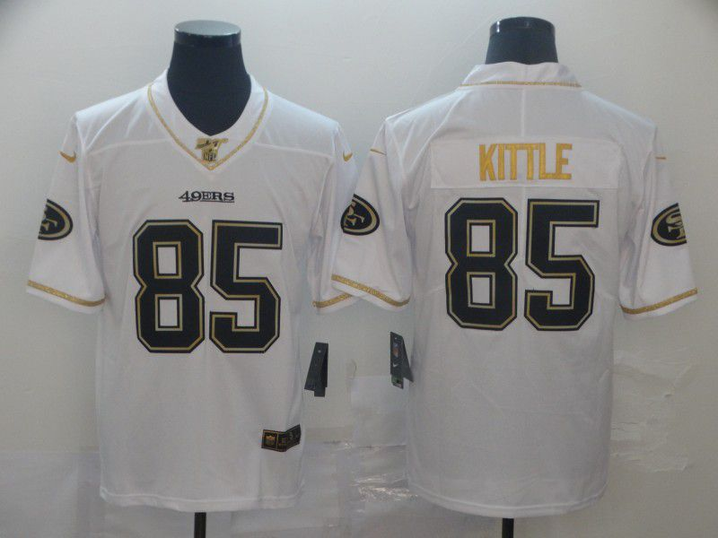Men San Francisco 49ers 85 Kittle White Retro gold character Nike NFL Jerseys