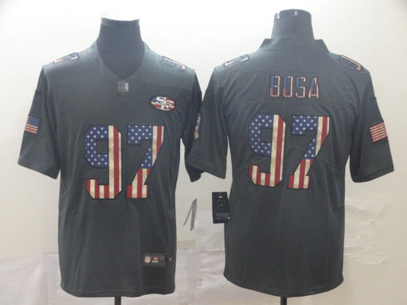 Men San Francisco 49ers 97 Bosa Carbon Black Retro USA flag Nike NFL Jerseys