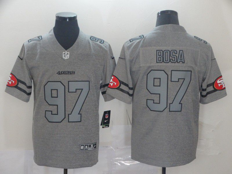 Men San Francisco 49ers 97 Bosa Grey Retro Nike NFL Jerseys