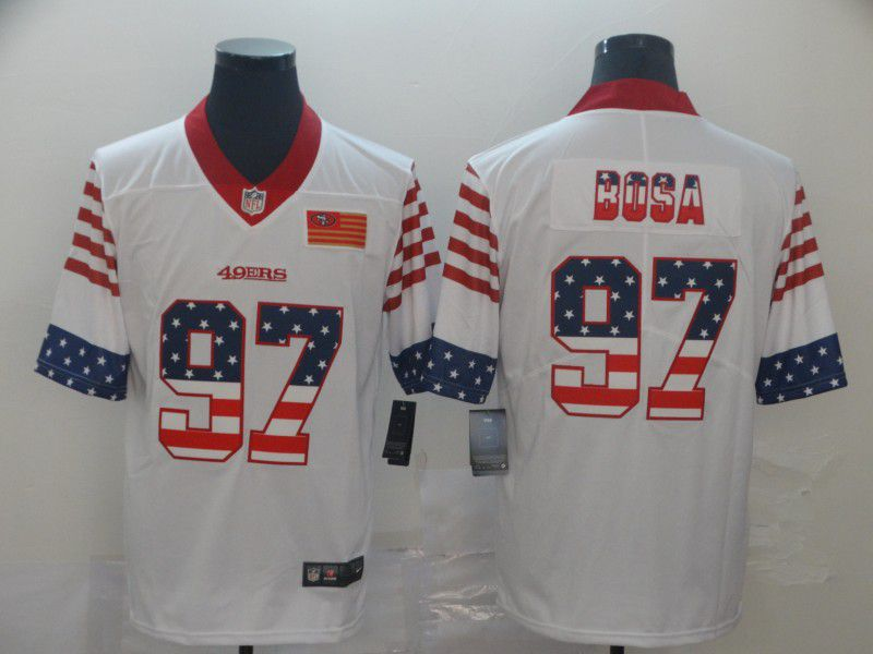 Men San Francisco 49ers 97 Bosa White Retro USA Flag Nike NFL Jerseys