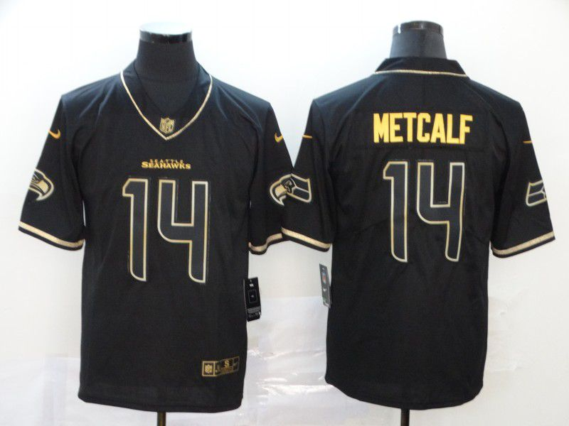 Men Seattle Seahawks 14 Metcalf Black Retro gold character Nike NFL Jerseys