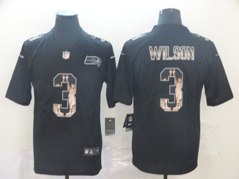 Men Seattle Seahawks 3 Wilson Black Goddess fashion Edition Nike NFL Jerseys