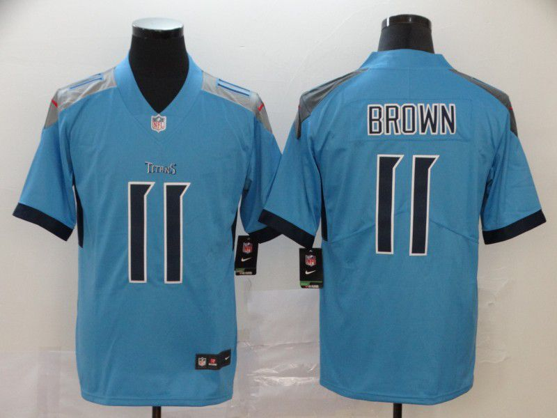 Men Tennessee Titans 11 Brown Light Blue New Nike Vapor Untouchable Limited NFL Jersey