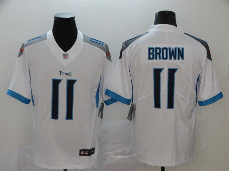 Men Tennessee Titans 11 Brown White New Nike Vapor Untouchable Limited NFL Jersey