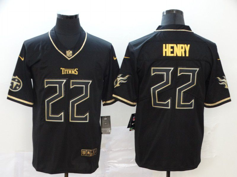 Men Tennessee Titans 22 Henry Black Retro gold character Nike NFL Jerseys